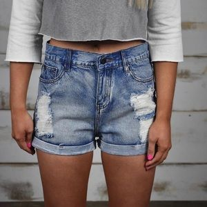 Thirty one boutique distressed cut offs